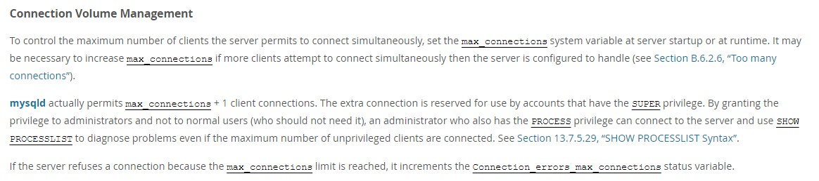MySQL max_connections doc
